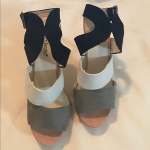 Color-blocked faux-suede platform sandal